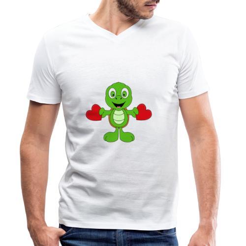 Lustige Schildkröte - Turtle - Herzen - Liebe - Männer Bio-T-Shirt mit V-Ausschnitt von Stanley & Stella