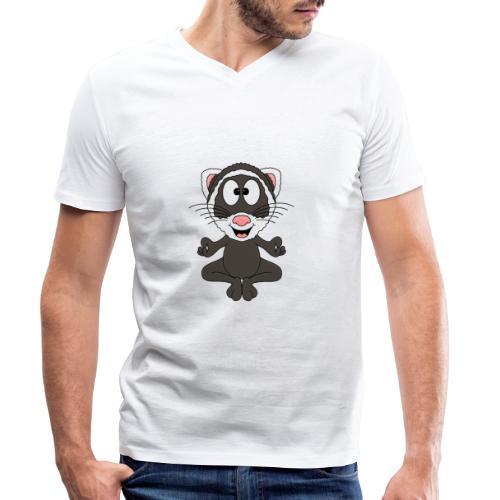 Lustiges Frettchen - Yoga - Relax - Chill - Fun - Männer Bio-T-Shirt mit V-Ausschnitt von Stanley & Stella