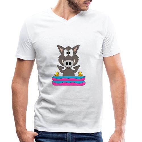 Lustiges Wildschwein - Planschbecken - Shaka - Fun - Männer Bio-T-Shirt mit V-Ausschnitt von Stanley & Stella
