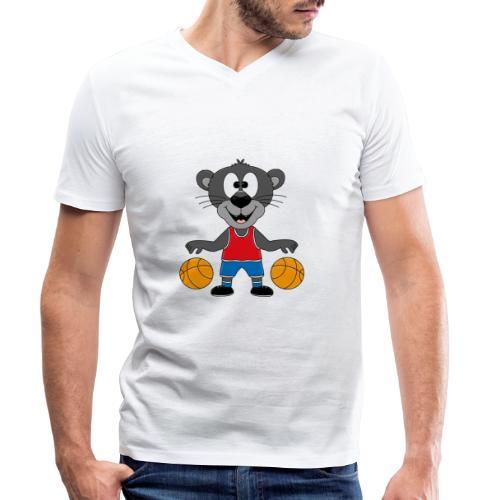 Lustiger Panther - Basketball - Sport - Tier - Fun - Männer Bio-T-Shirt mit V-Ausschnitt von Stanley & Stella