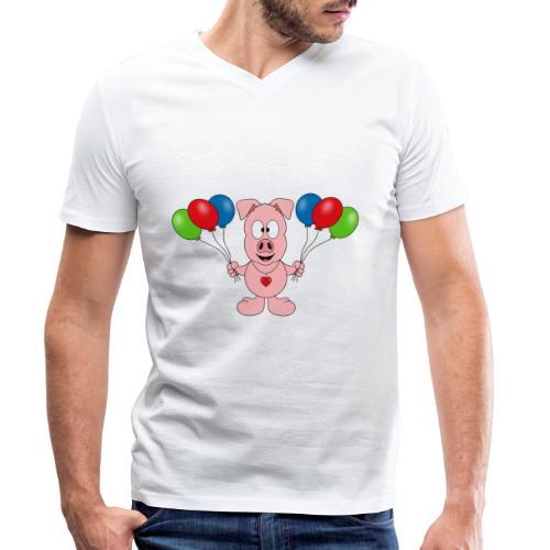 Lustiges Schwein - Luftballons - Geburtstag - Kids - Männer Bio-T-Shirt mit V-Ausschnitt von Stanley & Stella