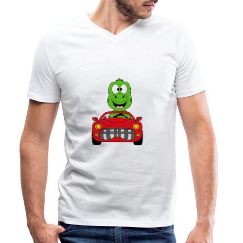 Lustiger Gecko - Echse - Auto - Cabrio - Car - Fun - Männer Bio-T-Shirt mit V-Ausschnitt von Stanley & Stella