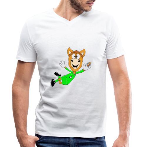 Lustiges Pferd - Fußball - Torwart - Fliegenfänger - Männer Bio-T-Shirt mit V-Ausschnitt von Stanley & Stella