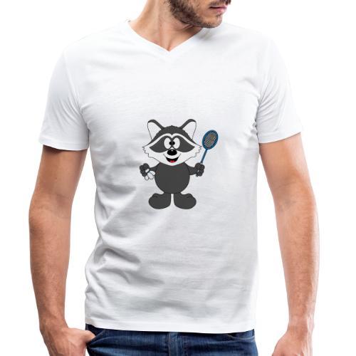 Lustiger Waschbär - Federball - Badminton - Männer Bio-T-Shirt mit V-Ausschnitt von Stanley & Stella