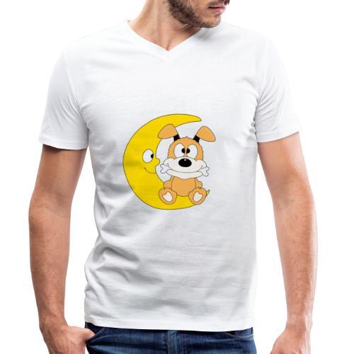 Lustiger Hund - Dog - Knochen - Mond - Tier - Männer Bio-T-Shirt mit V-Ausschnitt von Stanley & Stella