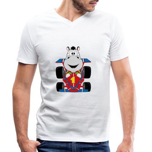 Lustiges Zebra - Rennauto - Auto - Nummer 1 - Männer Bio-T-Shirt mit V-Ausschnitt von Stanley & Stella