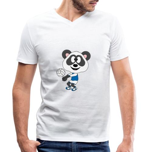 Lustiger Panda - Bär - Volleyball - Sport - Fun - Männer Bio-T-Shirt mit V-Ausschnitt von Stanley & Stella