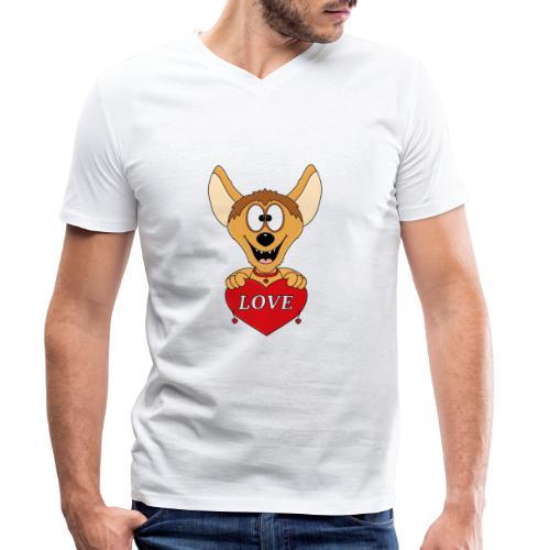 Lustige Hyäne - Herz - Liebe - Love - Tier - Fun - Männer Bio-T-Shirt mit V-Ausschnitt von Stanley & Stella