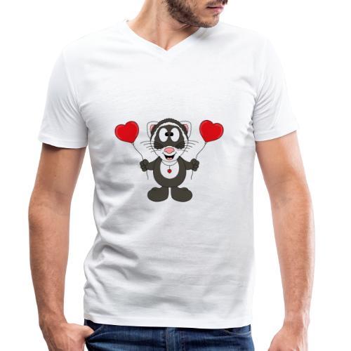 Lustiges Frettchen - Herzen - Luftballons - Tier - Männer Bio-T-Shirt mit V-Ausschnitt von Stanley & Stella