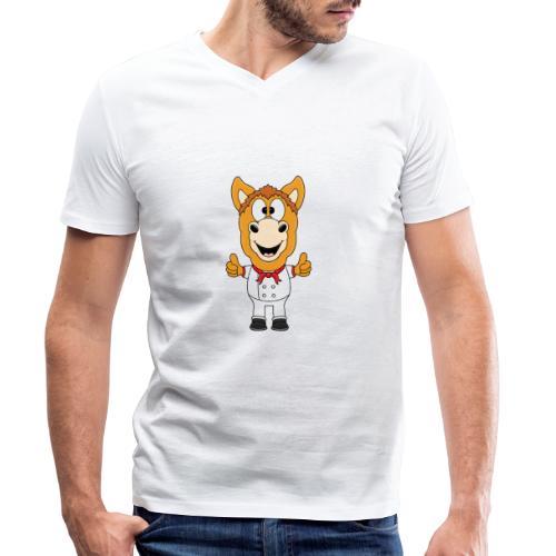 Lustiges Pferd - Pony - Bäcker - Koch - Fun - Männer Bio-T-Shirt mit V-Ausschnitt von Stanley & Stella