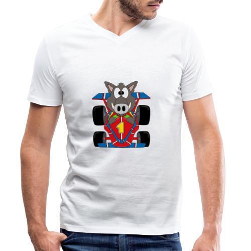 Lustiges Wildschwein - Rennwagen - Auto - Tier - Männer Bio-T-Shirt mit V-Ausschnitt von Stanley & Stella