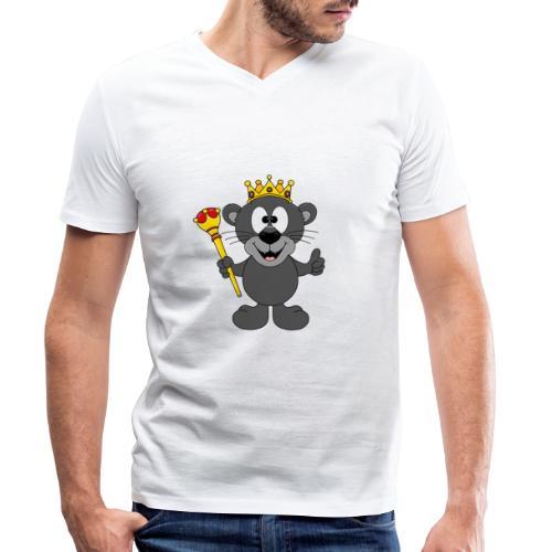 Lustiger Panther - König - Königin - Tier - Kind - Männer Bio-T-Shirt mit V-Ausschnitt von Stanley & Stella