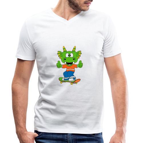 Lustiger Drache - Dragon - Skateboard - Sport - Männer Bio-T-Shirt mit V-Ausschnitt von Stanley & Stella