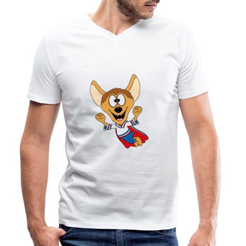 Lustige Hyäne - Superheld - Kind - Baby - Tier - Männer Bio-T-Shirt mit V-Ausschnitt von Stanley & Stella