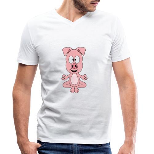 Lustiges Schwein - Yoga - Chill - Relax - Tier - Männer Bio-T-Shirt mit V-Ausschnitt von Stanley & Stella