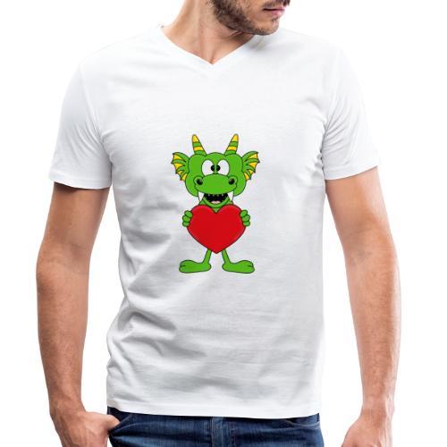 Lustiger Drache - Dragon - Herz - Liebe - Love - Männer Bio-T-Shirt mit V-Ausschnitt von Stanley & Stella