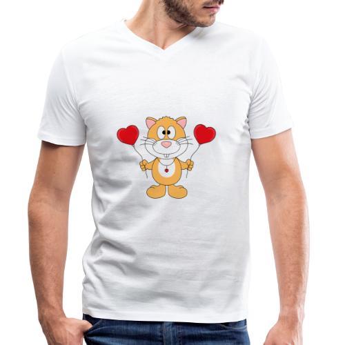 Lustiger Hamster - Herzen - Luftballons - Liebe - Männer Bio-T-Shirt mit V-Ausschnitt von Stanley & Stella