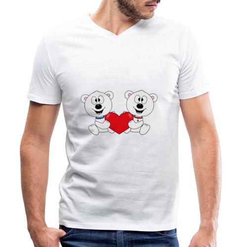 Lustige Eisbären - Herz - Liebe - Love - Fun - Männer Bio-T-Shirt mit V-Ausschnitt von Stanley & Stella