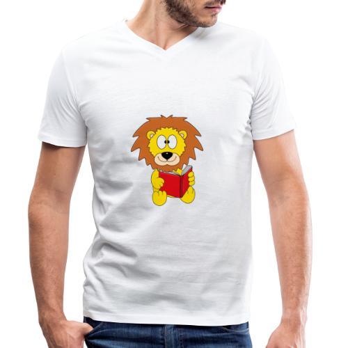 Löwe - Buch - Lesen - Geschichte - Kind - Tier - Männer Bio-T-Shirt mit V-Ausschnitt von Stanley & Stella