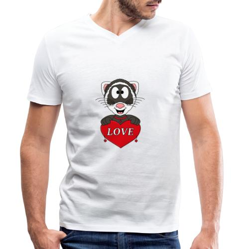 Frettchen - Herz - Liebe - Love - Tier - Kind - Männer Bio-T-Shirt mit V-Ausschnitt von Stanley & Stella