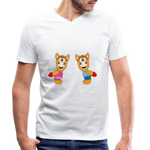 Pferde - Ponys - Reiten - Herzen - Liebe - Love - Männer Bio-T-Shirt mit V-Ausschnitt von Stanley & Stella