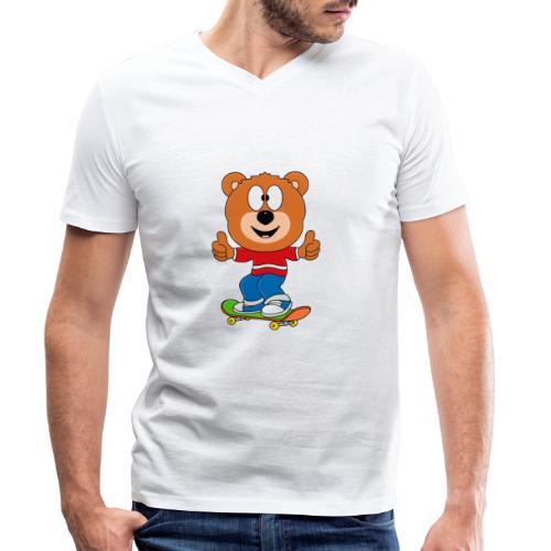 Teddy - Bär - Skateboard - Sport - Kind - Baby - Männer Bio-T-Shirt mit V-Ausschnitt von Stanley & Stella