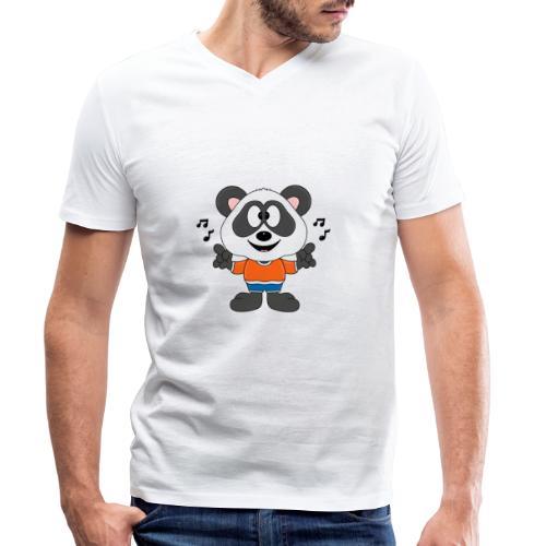 Panda - Bär - Musik - Kind - Tier - Baby - Männer Bio-T-Shirt mit V-Ausschnitt von Stanley & Stella