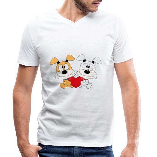 Hunde - Herz - Liebe - Love - Kind - Baby - Tier - Männer Bio-T-Shirt mit V-Ausschnitt von Stanley & Stella