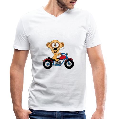 Erdmännchen - Motorrad - Biker - Kind - Baby - Männer Bio-T-Shirt mit V-Ausschnitt von Stanley & Stella
