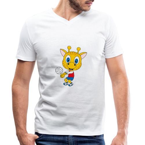 Giraffe - Volleyball - Sport - Tier - Kind - Baby - Männer Bio-T-Shirt mit V-Ausschnitt von Stanley & Stella