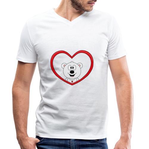 Eisbär - Bär - Teddy - Herz - Liebe - Love - Fun - Männer Bio-T-Shirt mit V-Ausschnitt von Stanley & Stella
