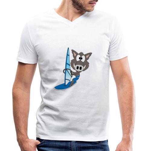 Wildschwein - Surfer - Windsurfer - Sport - Männer Bio-T-Shirt mit V-Ausschnitt von Stanley & Stella