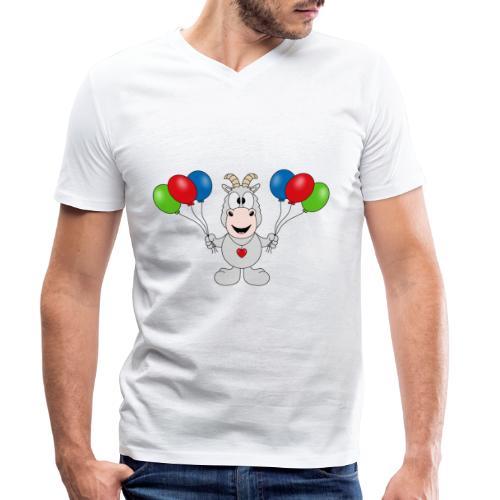 Ziege - Luftballons - Geburtstag - Party - Tier - Männer Bio-T-Shirt mit V-Ausschnitt von Stanley & Stella