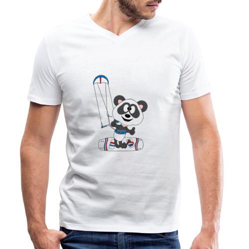 Panda - Bär - Kite - Kitesurfer - Kitesurfen - Fun - Männer Bio-T-Shirt mit V-Ausschnitt von Stanley & Stella