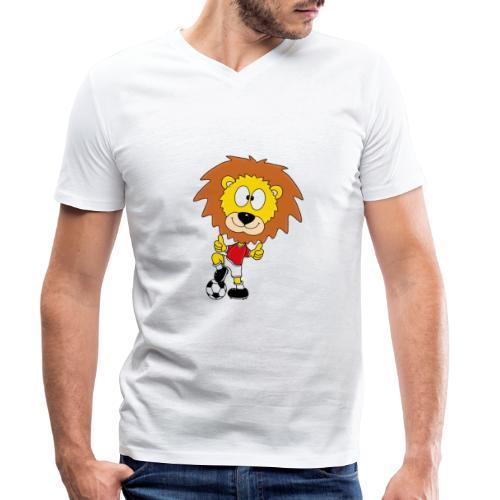 Löwe - Fußball - Kind - Sport - Baby - Tier - Fun - Männer Bio-T-Shirt mit V-Ausschnitt von Stanley & Stella