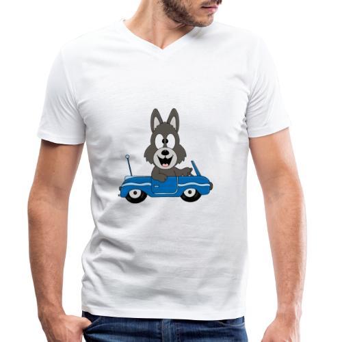 Wolf - Auto - Cabrio - Führerschein - Fahrschule - Männer Bio-T-Shirt mit V-Ausschnitt von Stanley & Stella