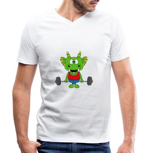 Drache - Dragon - Fitness - Gewichtheber - Sport - Männer Bio-T-Shirt mit V-Ausschnitt von Stanley & Stella
