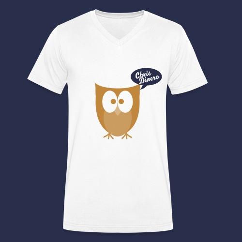 Eule mit blau/weißen Logo - Männer Bio-T-Shirt mit V-Ausschnitt von Stanley & Stella