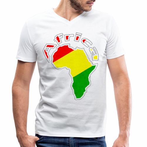 Afrika - rot gold grün - Männer Bio-T-Shirt mit V-Ausschnitt von Stanley & Stella