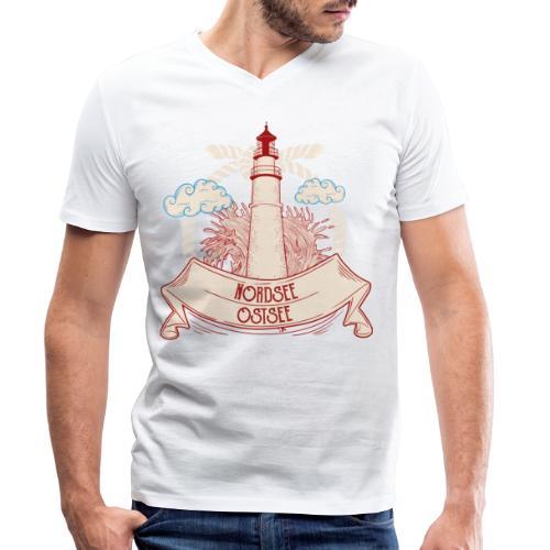 Leuchtturm Nordsee Ostsee - Männer Bio-T-Shirt mit V-Ausschnitt von Stanley & Stella
