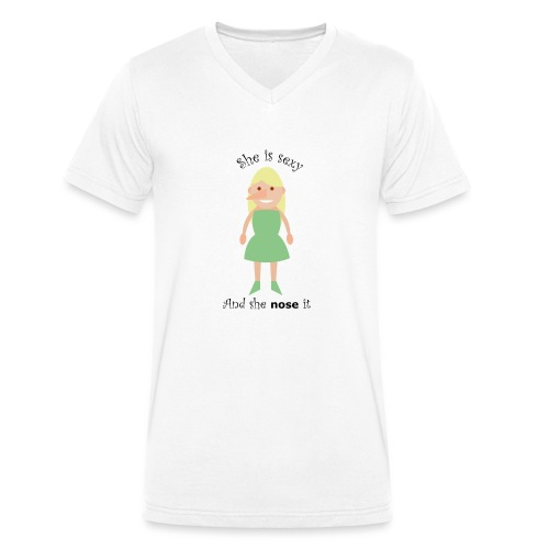 She is sexy and she nose it - Mannen bio T-shirt met V-hals van Stanley & Stella