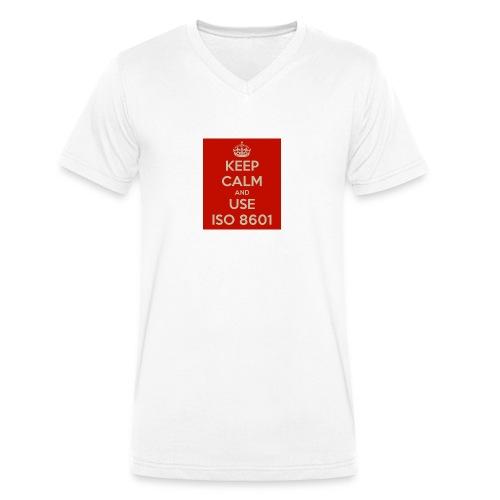 keep calm and use iso 8601 - Økologisk T-skjorte med V-hals for menn fra Stanley & Stella