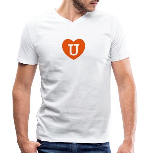 LOVE- U Heart - Men's Organic V-Neck T-Shirt by Stanley & Stella