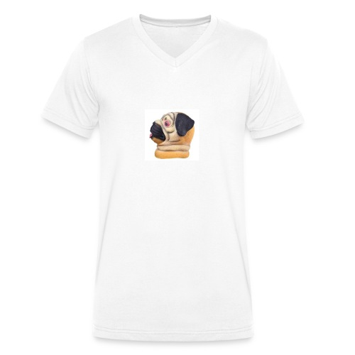 A larger DJ Pug - Men's Organic V-Neck T-Shirt by Stanley & Stella