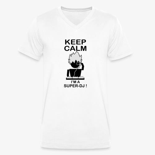 KEEP CALM SUPER DJ B&W - T-shirt bio col V Stanley & Stella Homme