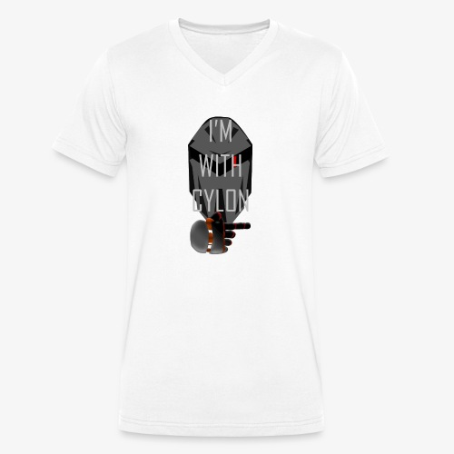 I'm with Cylon - Økologisk T-skjorte med V-hals for menn fra Stanley & Stella