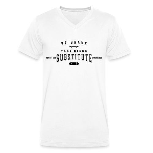 be brave - Ekologiczna koszulka męska z dekoltem w serek Stanley & Stella