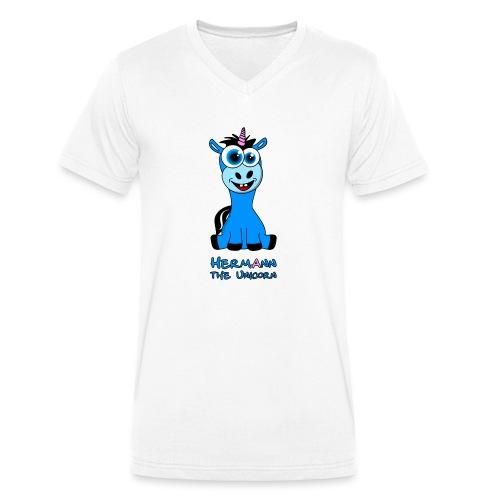 Hermann the Unicorn front - Männer Bio-T-Shirt mit V-Ausschnitt von Stanley & Stella