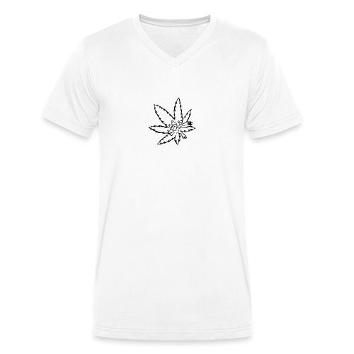 liść marihuany - Ekologiczna koszulka męska z dekoltem w serek Stanley & Stella