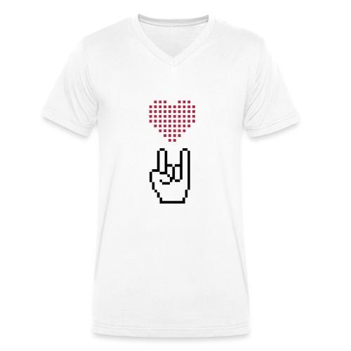 Pixel Love Rock - Männer Bio-T-Shirt mit V-Ausschnitt von Stanley & Stella